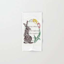 Spring Rabbit  (Jack rabbit and tulips on hymn) Hand & Bath Towel