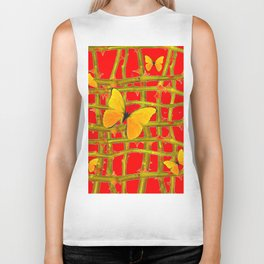 YELLOW BUTTERFLIES & RED THORN LATTICE Biker Tank