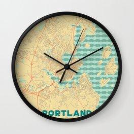 Portland Maine Map Retro Wall Clock