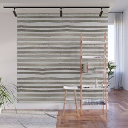 Simply Shibori Stripes Earth Brown on Lunar Gray Wall Mural