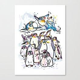 Penguin family Canvas Print