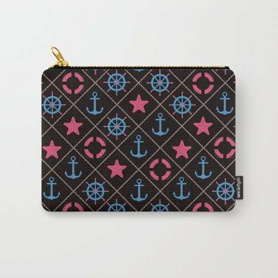 Nautical decor on black background . Carry-All Pouch