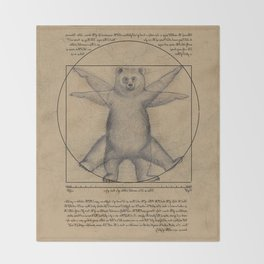 The Vitruvian Bear Throw Blanket