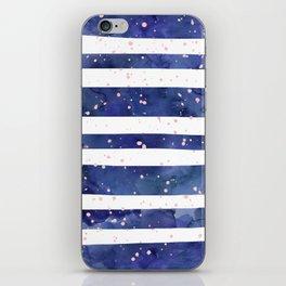 Navy blue watercolor stripes blush pink splatters iPhone Skin