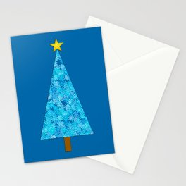 Blue Flowers on a Retro Modern Christmas Tree Stationery Cards