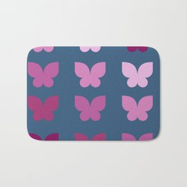 Butterflies in Purple Ombre with Dark Blue Background Bath Mat