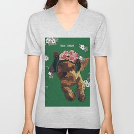 Frida-Terrier dog Unisex V-Neck