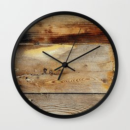 Wooden shipboard with nails and screws Wall Clock