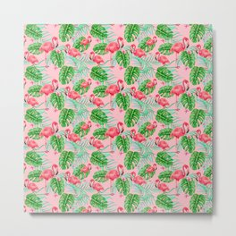 Flamingo Pink Bird - Tropical Jungle Style Pattern Metal Print
