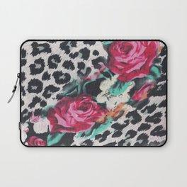 Vintage black white pink floral cheetah animal print Laptop Sleeve