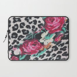 Vintage black white pink floral cheetah animal print Laptop Sleeve