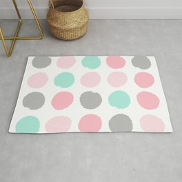 Polka dots abstract dotted pattern brushstrokes paint brush marks abstract trendy colors Rug