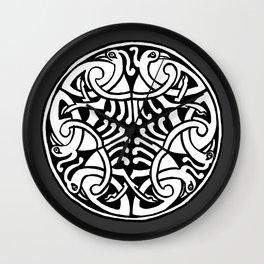 Celtic Art - Interlaced Birds - on Grey Wall Clock