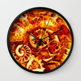 Burnt Umber Sea Shell-Clock Work Abstract Painting Wall Clock