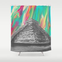 aztec Shower Curtains featuring Aztec by Cale potts Art
