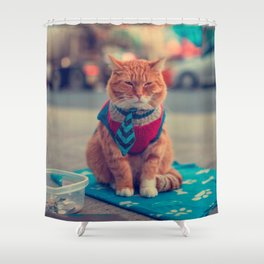 Tie Beige Cat Sitting Begging Shower Curtain