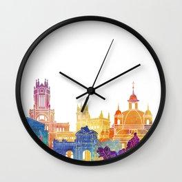 Madrid landmarks watercolor poster Wall Clock