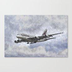 Qatar Airlines Airbus Art Canvas Print