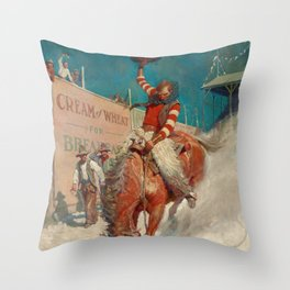 Bronco Buster, 1906 by Newell Convers Wyeth Throw Pillow