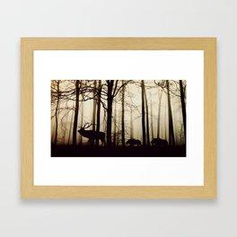 Forest night deer Framed Art Print