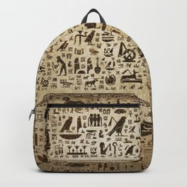 Ancient Egyptian hieroglyphs - Vintage and gold Backpack