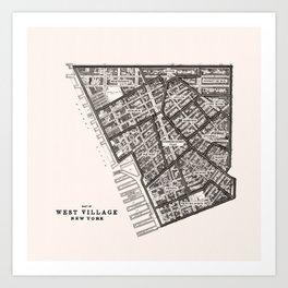 West Village NY Neighborhood Map Art Print