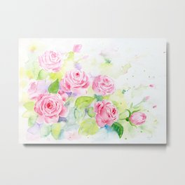 Watercolor Pink Rose Flowers Metal Print