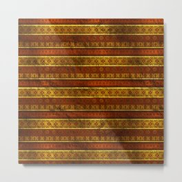 African Ethnic Tribal Pattern in golds and brown Metal Print