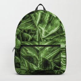 Painted Green Monstera palm leaves by Brian Vegas Backpack