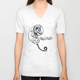Space Kitty Opossum Unisex V-Neck