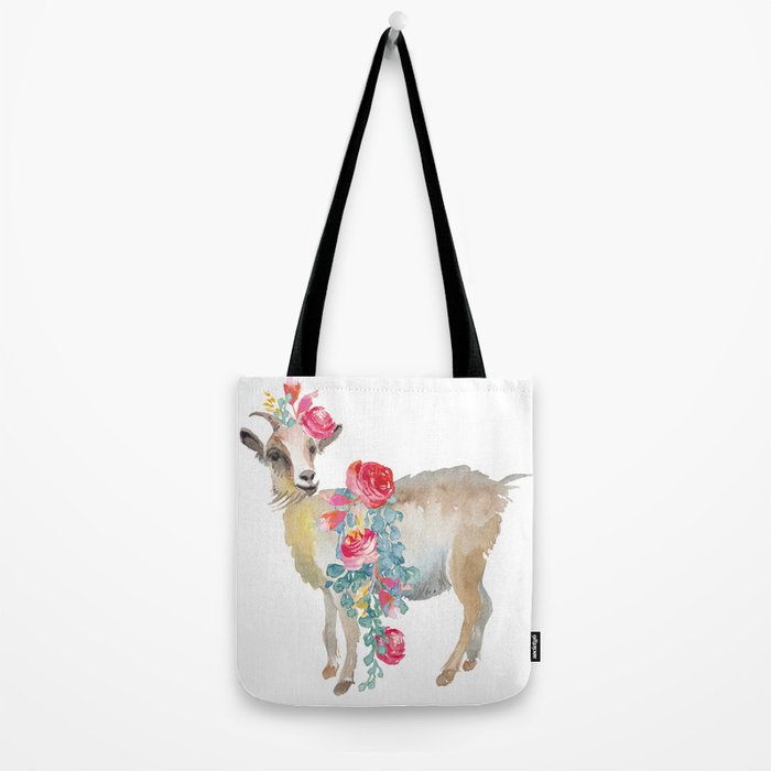 goat with flower crown Tote Bag