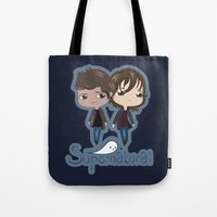supernatural Tote Bags featuring Supernatural by Alex Mathews