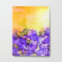 INTO ETERNITY, YELLOW AND LAVENDER PURPLE Colorful Watercolor Painting Abstract Art Floral Landscape Metal Print