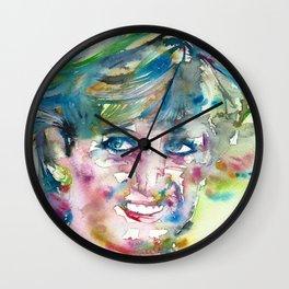 DIANA - PRINCESS OF WALES - watercolor portrait.4 Wall Clock