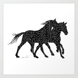 Black&White Horses Art Print