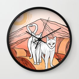 Cats on a Path Wall Clock