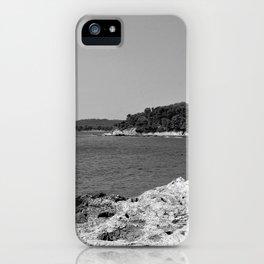 coastline bay at summer pula croatia istria black white iPhone Case