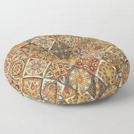 Vintage patchwork with floral mandala elements Floor Pillow