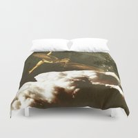 submarine Duvet Covers featuring Flying Submarine by Schmitt127