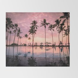 Pastel Sunset Palms Throw Blanket