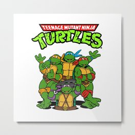 Retro Ninja Turtles Metal Print