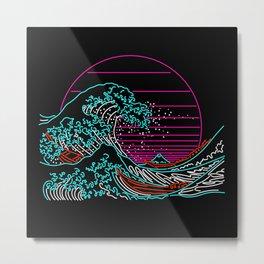 Great Neon Wave - The Great Wave off Kanagawa - Hokusai - Vintage Metal Print