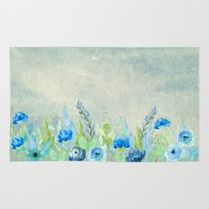 Blue flowers in a meadow- Floral watercolor illustration Rug