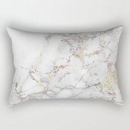 Champagne Rose Gold Blush Metallic Glitter Foil On Gray Marble Rectangular Pillow