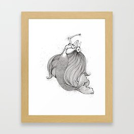 Drowning mermaid Framed Art Print
