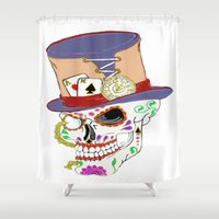 steam punk Shower Curtains featuring Steam Punk Sugar Skull by J&C Creations
