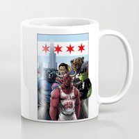 blackhawks Mugs featuring Chicago Sports by Carrillo Art Studio