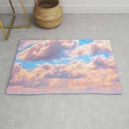 Beautiful Pink Cotton Candy Clouds Against Baby Blue Sky Fairytale Magical Sky Rug