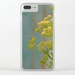 Yellow wildflowers on blue rusty metal Clear iPhone Case
