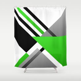 Sophisticated Ambiance - Silver & Minty Green Color Shower Curtain